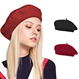 Womens Beret Hat Solid Color Classic French Style Winter Warm Cap Outdoor Hat (Red+Black)