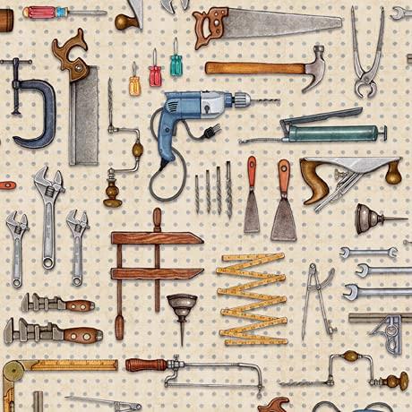 Tejidos para herramientas de trabajo – Workman's Tools Cream – QT249 – desde 0,5 metros – por Quilting Treasures – 100% algodón (Workman's Tools Cream QT249)