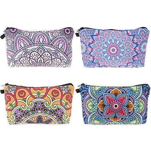 4 peças de bolsa de maquiagem, bolsa de cosméticos, necessaire à prova d'água, bolsa de maquiagem para viagem com padrões de flores de mandala, zíperes pretos