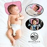 Maverick - Almohada para bebé que previene la plagiocefalia 100% algodón. Cojín para cuna con dos fundas y bolsa incluidas, lavable, almohada para cuna o cochecito. Evita la cabeza plana