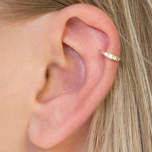 Diversa Piercing - Orecchino Donna Cartilagine ⌀ 8 mm, Anello Orecchio Helix in Oro Giallo 18 Carati con Zirconi