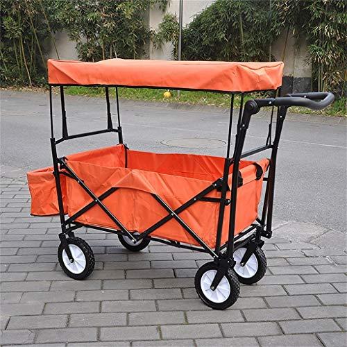 Einfache Idee Hand Truck Supermarkt Warenkorb Gepäckwagen/Camping Outdoor Trailer/Falten Tragbare Kind Vier Runden Doppelbremse mit Markise Trolley/Last 68 Kg, T-C, Orange