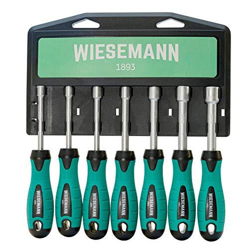 Set cacciaviti a bussola da 7 pezzi | WIESEMANN 80225 | per viti a testa esagonale 6-12 mm | cromatura opaca
