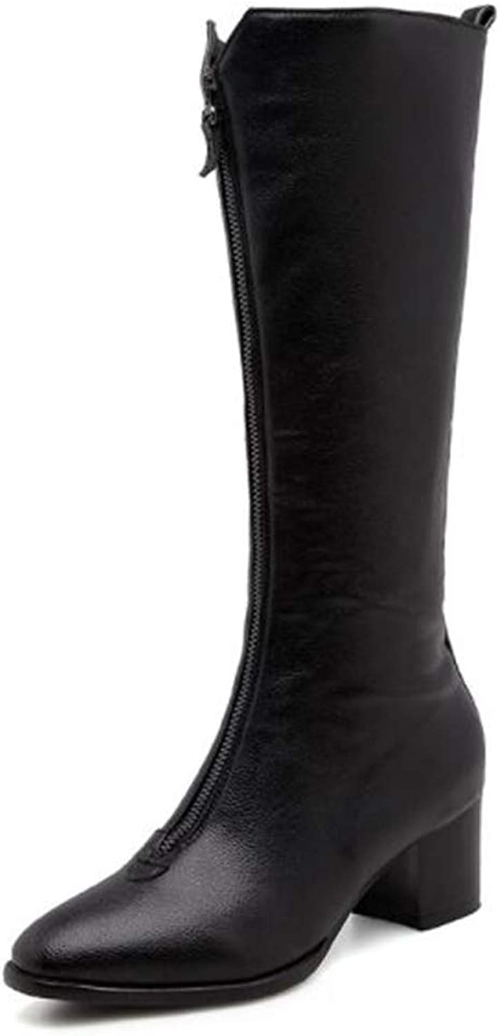 Zgshnfgk Women Boots Winter Round Toe Warm Lady Fashion Front Zip Boots