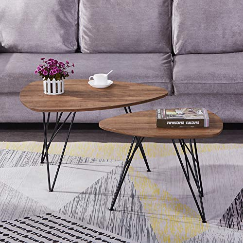GOLDFAN Triangle Coffee Tables Vintage Living Room Table Sets Coffee Side End Tables with Metal Legs for Office Furniture,Brown