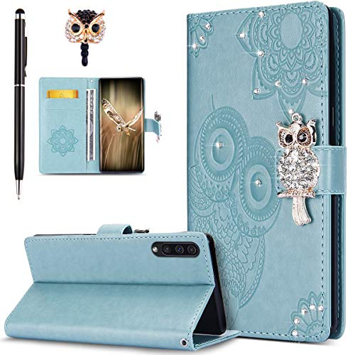 ikasus Case for Galaxy A50 Cover,Bling Diamonds Glitter Embossing Mandala Owl PU Leather Fold Wallet Flip Stand Protective Case Cover + Dust Plug & Stylus for Galaxy A50 Wallet Case,Green