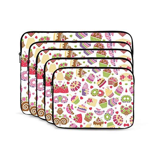 KUUDJIT Baking and Desserts 12/13/15/17 Inch Laptop Sleeve Bag for MacBook Air 13 15 MacBook Pro Portable Zipper Laptop Bag Tablet Bag,Diving Fabric,Waterproof
