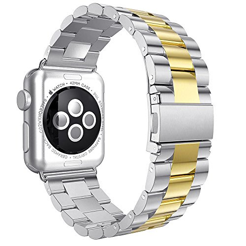 Shengbiao Compatible with Apple Watch Band 42mm 44mm,Stainless Steel Men iWatch Wristband Metal Strap Replacement Link Bracelet for Apple Watch Series 4 3 2 1 (42/44mm Silver/Gold)