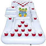 FUNPENY Floating Inflatable Pong Pool Party Barge, Outdoor Pong Table for Adults Soft Drink Games with Color White
