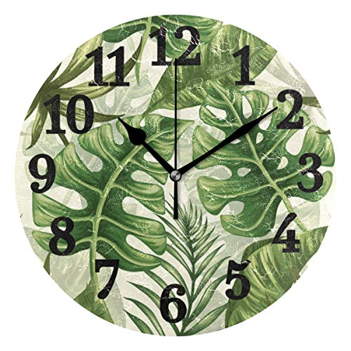 AHOMY Round Wall Clock Watercolor Tropical Monstera Palm Leaf Home Art Decor Non-Ticking Numeral Clock for Home Office