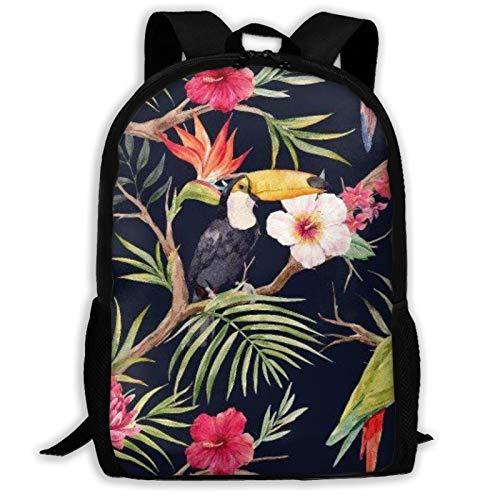 Xhayo Backpack,Large Backpack Free Tropical Floral Pattern School College Laptop Bag Rucksack