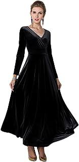 فستان طويل مخملي أنيق للنساء من EXCHIC فستان طويل للحفلات المسائية الراقصة فستان عيد الميلاد طويل