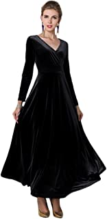 Women Elegant Velvet Long Dress Evening Party Dancing Dress Christmas Maxi Dress