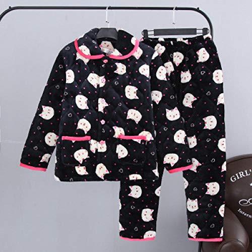BAIMM Invierno Coral Terciopelo señoras Tres Capas Gato Negro Postre Engrosamiento Conjunto Pijama Acolchado Servicio a Domicilio .XXL