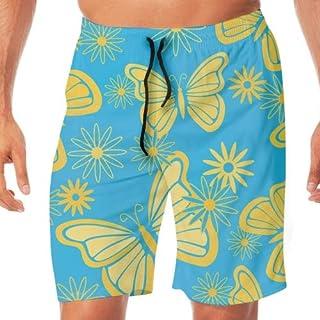 水着 メンズ サーフパンツ 水陸両用 通気速乾 ショート丈 海水パンツ スイムウェア Butterflies And Flowers ビーチパンツ