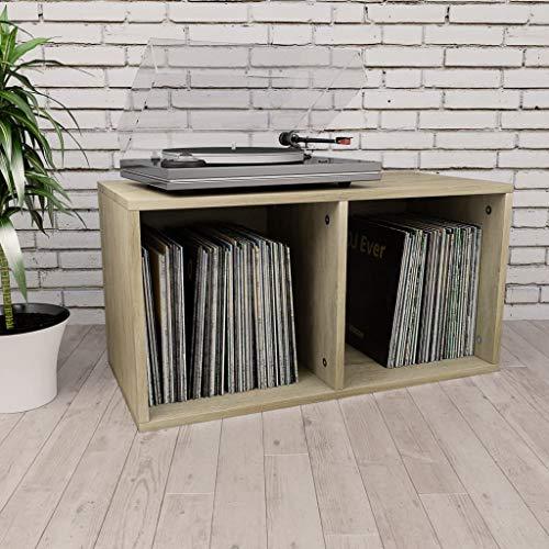 Festnight Boîte de Rangement de Vinyles Boîte de Stockage pour Bureau ou Chambre d'étude Table de Chevet Chêne Sonoma Aggloméré