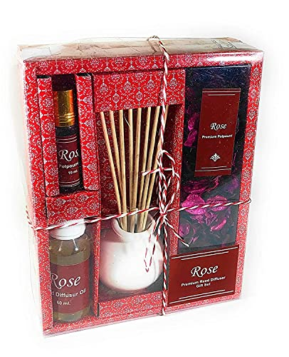 Zenza Reed Diffuser Set with 1 Ceramic Red Pot with Sticks, 1 Rose Aroma Oil (60 ml), 1 Rose Fragrance Potpourri and 1 Potpourri Fragrance Oil ( 10ml)   Size : 18X7X22 cm   Made in India