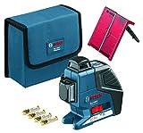 Bosch GLL 3-80 P - Nivel láser de 3 líneas de 360º, placa reflectante, funda...