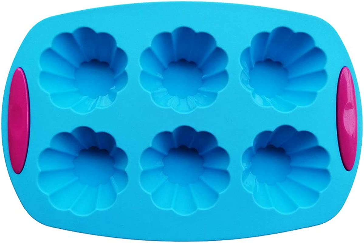 Silicone Muffin Pan 6 Cups Silicone Baking Mold Cupcake And Muffin Pan Best Food Grade Egg Muffin Tin BPA Free 100 Food Grade Dishwasher Microwave Safe Blue F
