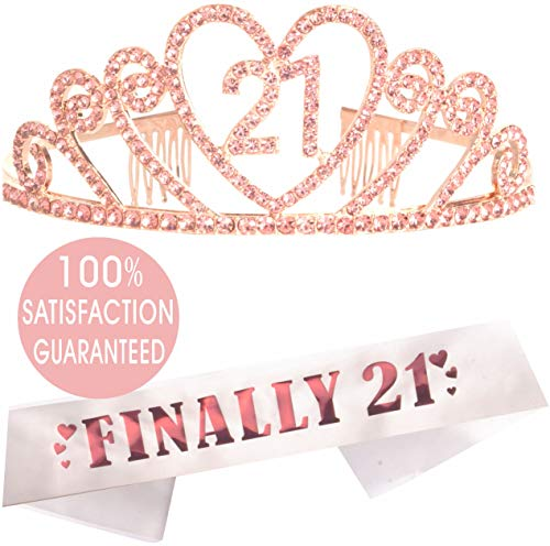 21st Birthday Gifts for Girl, 21st Birthday Tiara and Sash Pink, Happy 21st Birthday Party Supplies, 21& Fabulous Glitter Satin Sash and Crystal Tiara Birthday Crown for 21st Birthday Party Supplie