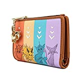 Loungefly Pokemon Eevee Evolutions Flap Wallet with Zipper Charm