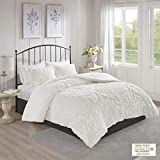 Madison Park Season Bedding Set, Matching Shams, King/Cal King(104'x92'), Viola, Damask White 3 Piece
