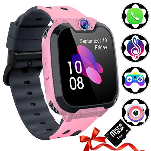 Smart Watch Phone per Bambini [Scheda SD Inclusa] - Smartwatch per Ragazzi E Ragazze con Lettore Musicale Chiamante Videocamera SOS 7 E Lettore Musicale, Orologio da Polso per Bambini 3-12