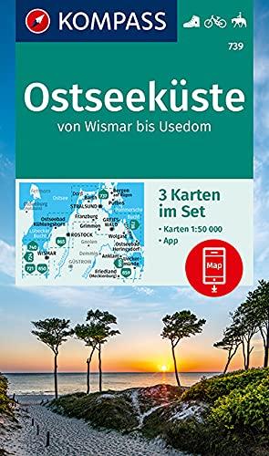 KOMPASS Wanderkarte Ostseeküste von Wismar bis Usedom: 3 Wanderkarten 1:50000 im Set inklusive Karte zur offline Verwendung in der KOMPASS-App. Fahrradfahren, Reiten. (KOMPASS-Wanderkarten, Band 739)