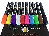 Set di pennarelli colorati in gesso liquido - per vetro, plastica, lavagna - cancellabili e atossici - 10 pezzi