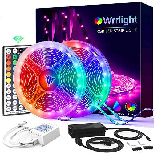 Led Strip Lights, Wrrlight 32.8FT RGB LED Lights Strip 5050 LED Tape Lights Flexible Color Changing LED Lights with 300LEDs Light Strips and 44 Keys IR Remote for Bedroom, Kitchen, DIY Home Decoration