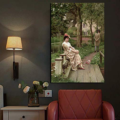 KWzEQ Mädchen, das auf Leinwandplakatdruck-Wandkunstmalereidekoration Moderne Hauptdekoration sitzt,Rahmenlose Malerei,60x90cm