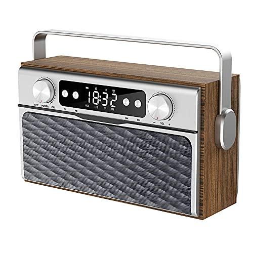 TUIHJA Reloj Despertador con Altavoz Bluetooth, Reloj con Radio FM, Reproductor Mp3 de Madera Inalámbrico Portátil, Pantalla LED HD, Soporte para Tarjeta TF U Disk AUX