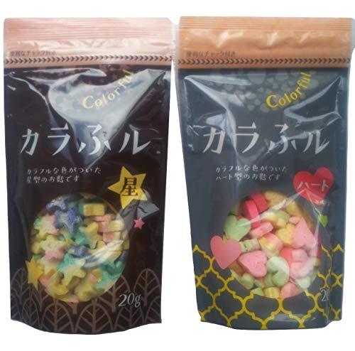 [セット品]常陸屋本舗 カラふル Colorful 麩 星 20g 1袋 + カラふル Colorful 麩 ハート 20g 1袋 【計2袋】