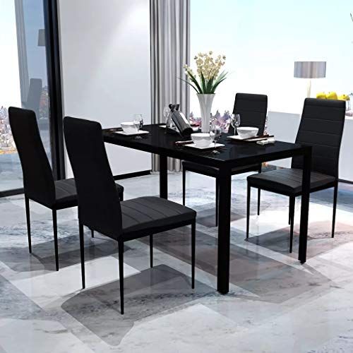 Cikonielf Juegos de Muebles de Comedor, Mesa de Vidrio Templado Negro, 4 Sillas de Comedor con Acolchado de Cuero