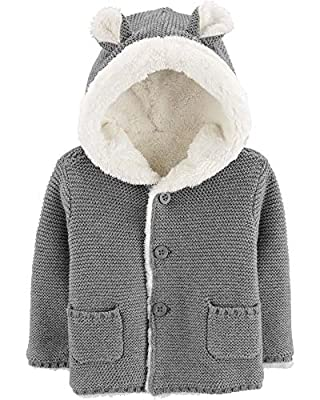 Carter's Baby Sherpa-Lined Hooded Cardigan with Ears Grey
