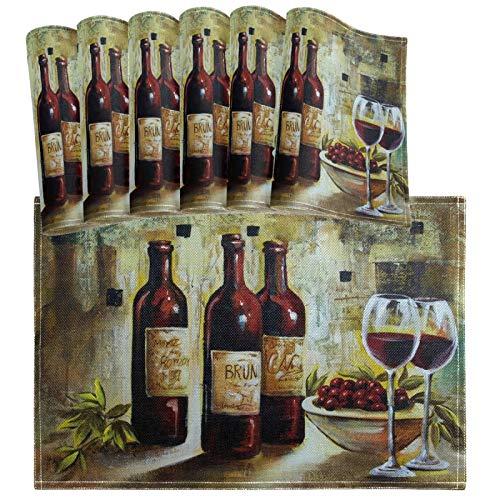 Oarencol Juego de 6 manteles individuales para decoración de mesa con diseño vintage para botellas de vino, resistentes al calor, lavables y limpias.