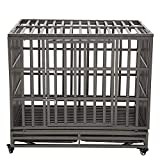 LUCKUP Empire Heavy Duty Dog Cage Strongest Metal Kennel and Crate for Medium and Large Dogs, Pet Playpen with Four Wheels,Easy to Install,42 inch,Black …
