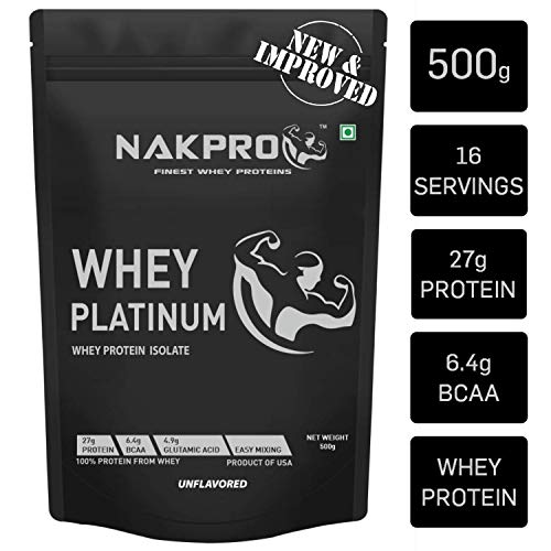 NAKPRO Platinum Whey Protein Isolate 90% (Natural, Raw, Pure, Unflavored, USA made) - 500g