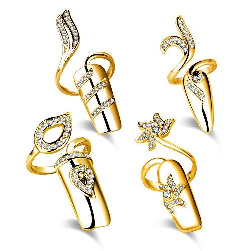 4PCS Nagel Dekoration Finger Ring Modetrend Fingerring Fingernagel Ring Nagelring Kreative öffnende Rhinestone Nagel Spitzen (Gold) 4pcs
