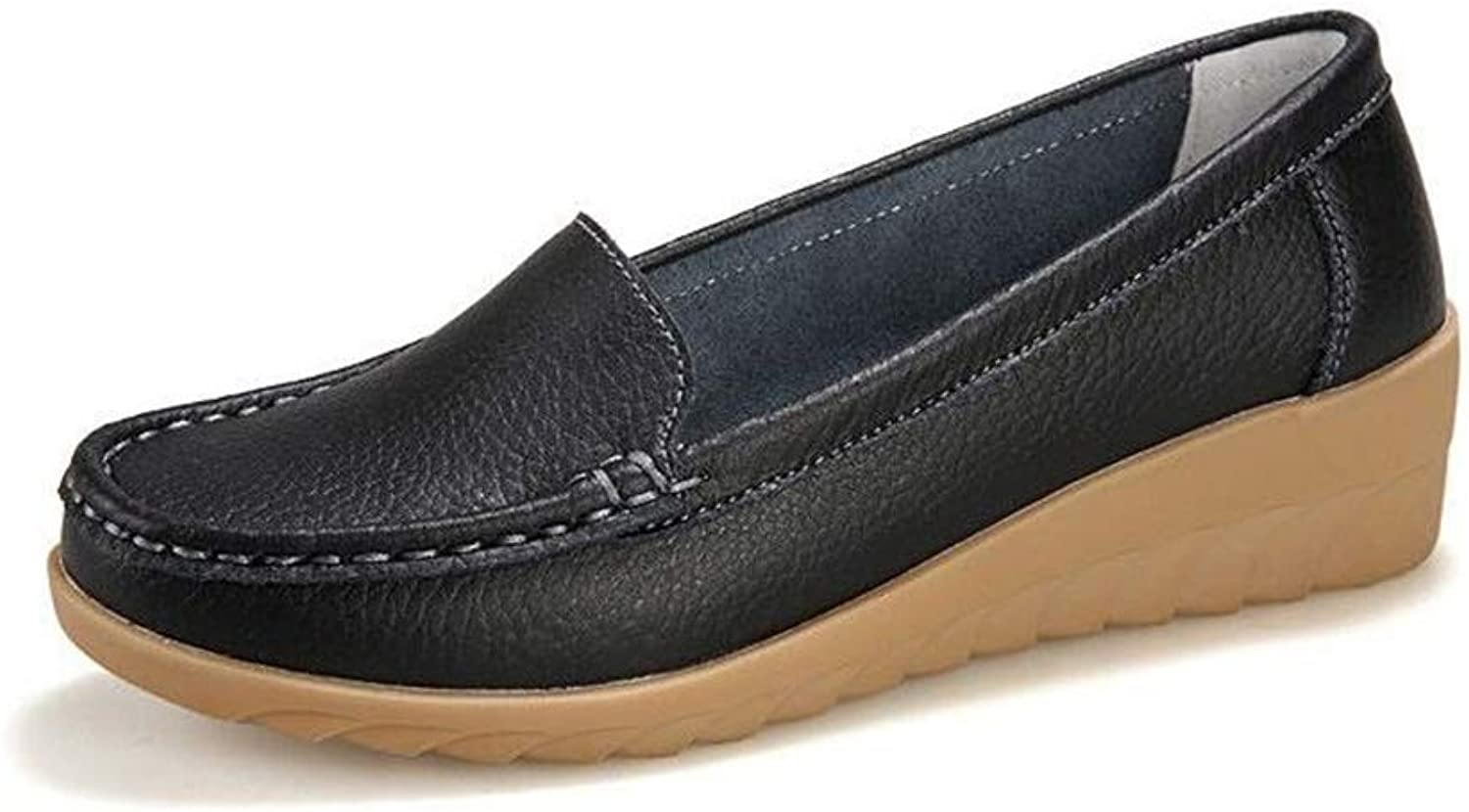 Women's Leather Loafers Casual Flats Driving Moccasins Indoor shoes Slip-On Slippers