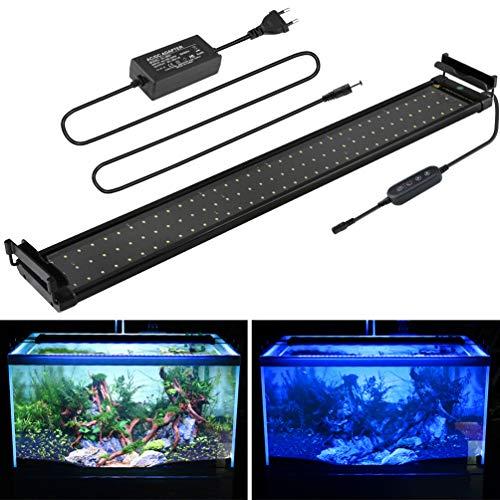 BELLALICHT Aquarium LED Beleuchtung, Aquariumbeleuchtung Lampe Weiß Blau Licht 18W mit Verstellbarer Halterung für 70cm-90cm Aquarium