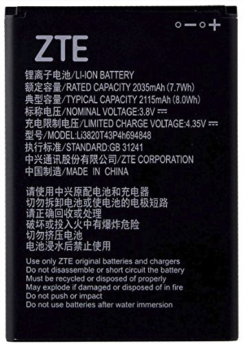 ZTE 31241 - Batería de ion de litio para teléfono móvil (3,8 V, 2115 mAh, 8,0 Wh, LI3820T43P4H694848 4,35 V, 2035 mAh, 7,7 Wh)