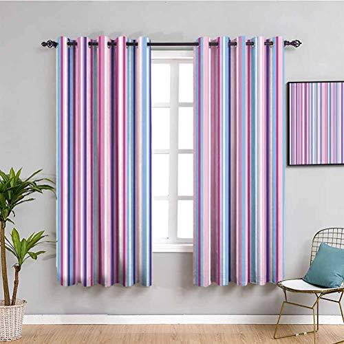 Cortinas opacas de alta calidad abstractas verticales a rayas degradadas de diferentes líneas de colores bandas de azulejos imagen fácil de instalar rosa bebé fucsia, azul cielo, W63 x L63 pulgadas
