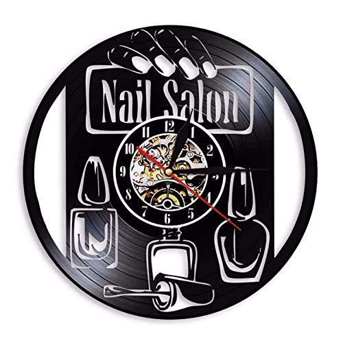 qweqweq Salón de uñas Reloj de Pared manicura Vinilo Estudio Reloj salón de Belleza Reloj de Pared decoración