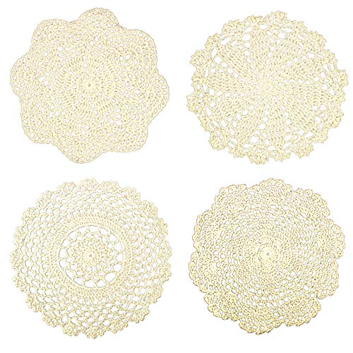 IDONGCAI Handmade Lace Doilies for Tables-Boho Ivory Farmhouse Placemats for Halloween-Macrame Coasters-Round Cotton Crochet Christmas Place mats-Dream Catcher Supplies 4 Pcs Package 1