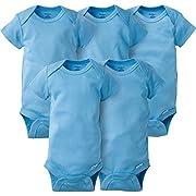 Gerber Baby 5-Pack Solid Onesies Bodysuits, Blue, 6-9 Months