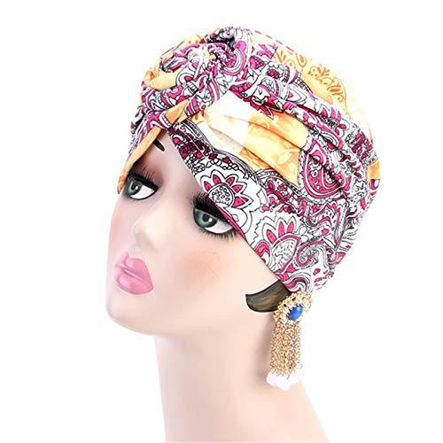 KCCCC Pérdida de Cabello Turban Turban Hat 3 unids Europeo y Americano Remolino Flores turbantes Sombrero Sombrero Nacional Sombrero Nacional Tapa de Bufandas de Headwrap (Color : A, Size : One Size)