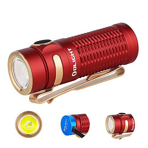 OLIGHT Baton 3 1200 Lumens Ultra-compact Rechargeable EDC Flashlight, Powered by 550mAh 3.7V IMR16340 Battery for Household Search, Outdoor Camping, Hiking and Mountaineering (Red)