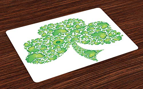 Lunarable Celtic Place Mats Set of 4, Irish Shamrock Made with Small Clover Patterns Graphic, Washable Fabric Placemats for Dining Table, Standard Size, White Green