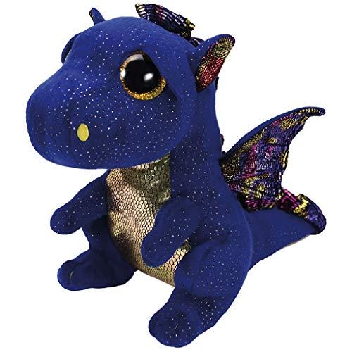 TY Blue Dragon 37260 Saffire, Drache Dunkelblau 24cm, mit Glitzeraugen, Beanie Boo\'s, 24 cm, Mehrfarbig